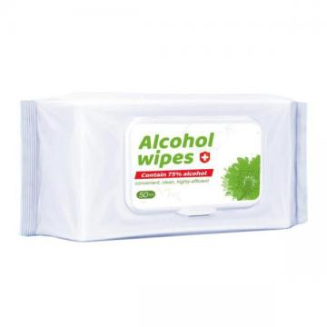Wholesale 50 Pieces Antibacterial Sanitizer Hand Wipes 75% Alcohol Disinfectant Wet Wipes